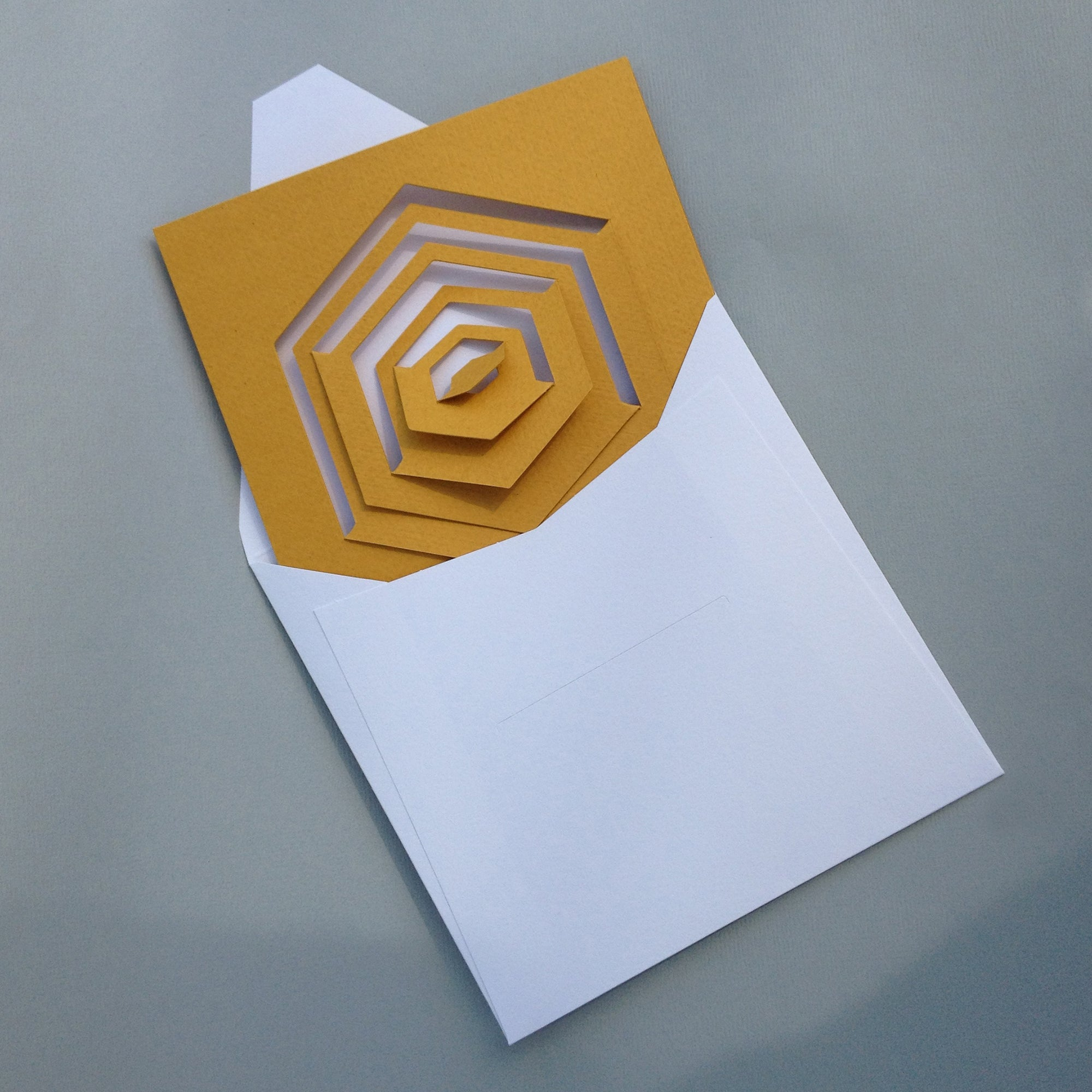Bauhaus Style Notecard- Yellow Hexagon | Getty Store