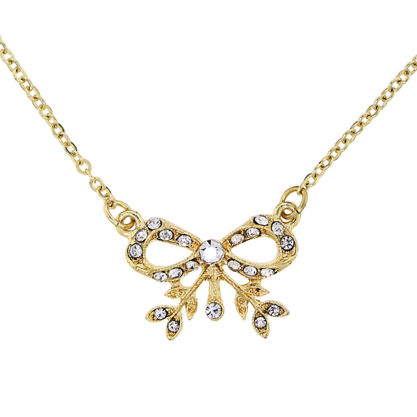 Bow Necklace with Petite Crystals