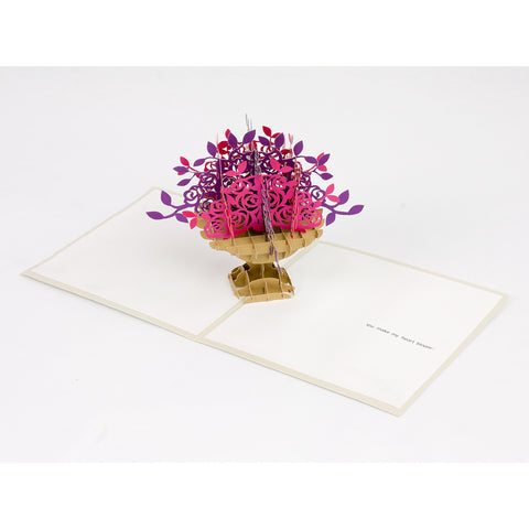 Pop-Up Valentine Note Card - Rose Bouquet