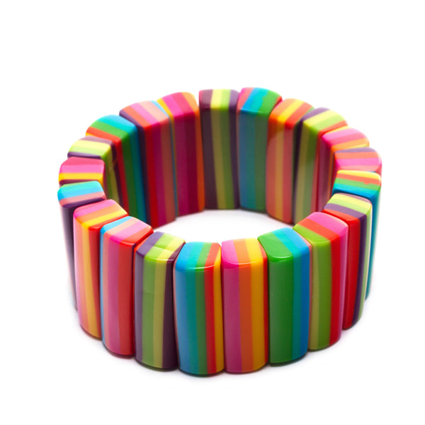 Striped Resin Stretch Bracelet