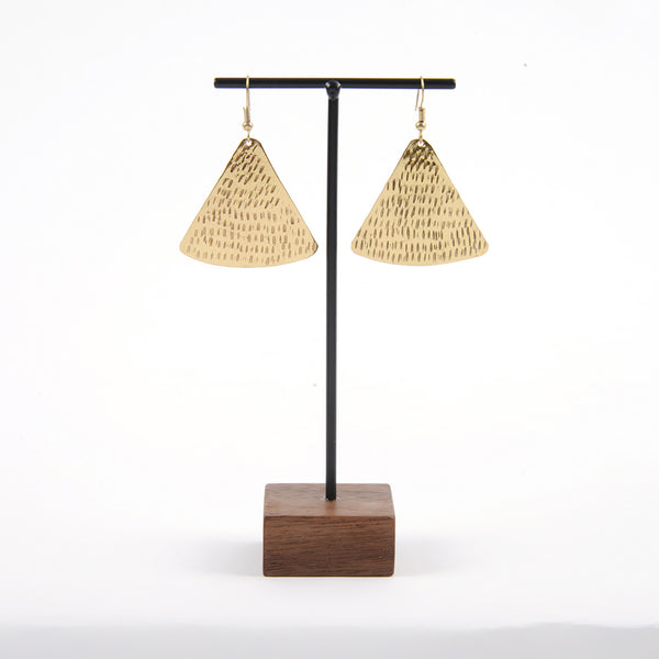 Hammered Gold Pyramid Earring