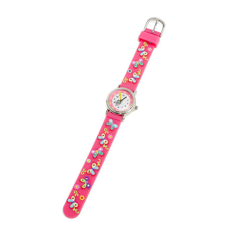 Children's Silicone Watch - Pink Butterflies