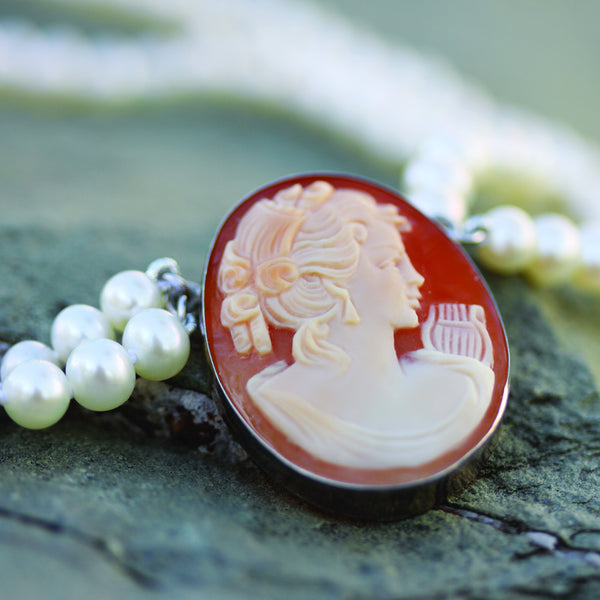 Hand Carved Cameo Necklace - Sappho
