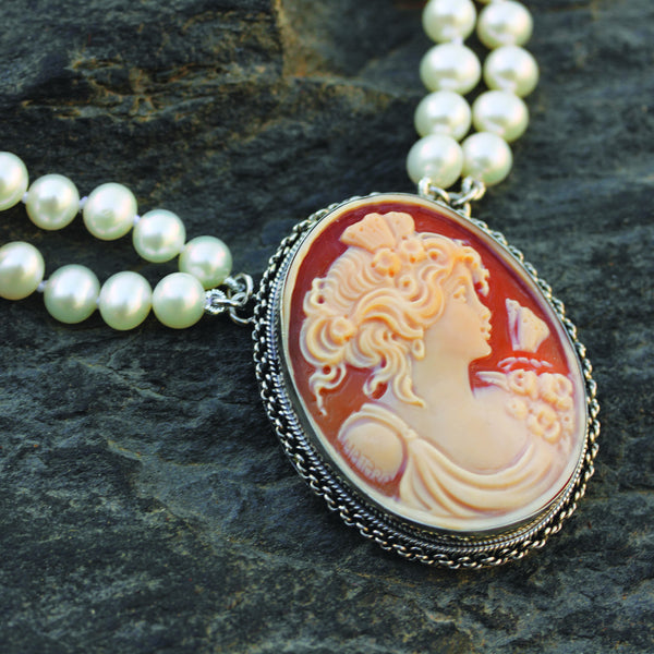 Hand Carved Cameo Necklace - Psyche