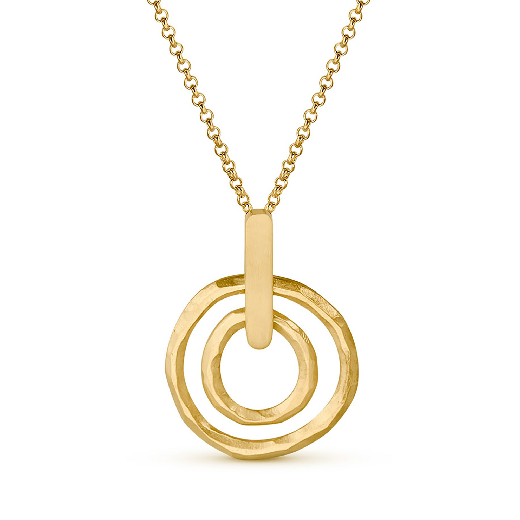 Hammered Double Circle Pendant Necklace