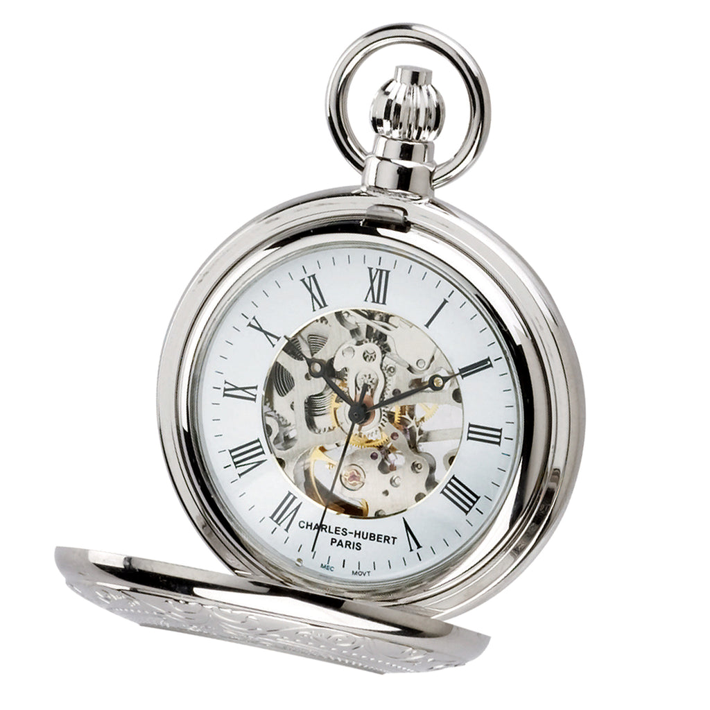 Demi Hunter Case Mechanical Pocket Watch - Chrome