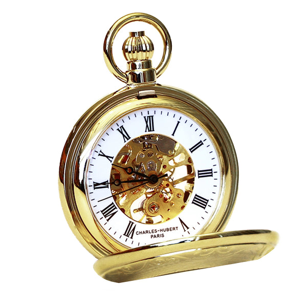 Demi Hunter Case Mechanical Pocket Watch - Gold Plated