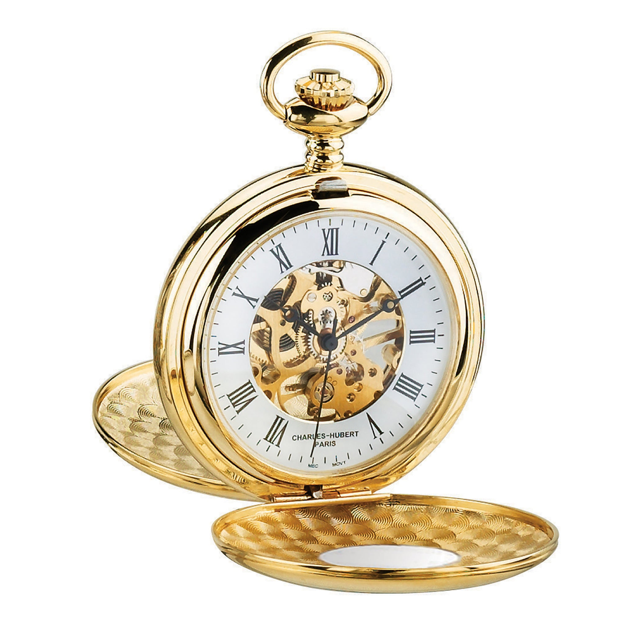 45be93388a0327 Gold-Plated Double Hunter Case Mechanical Pocket Watch - The Getty Store