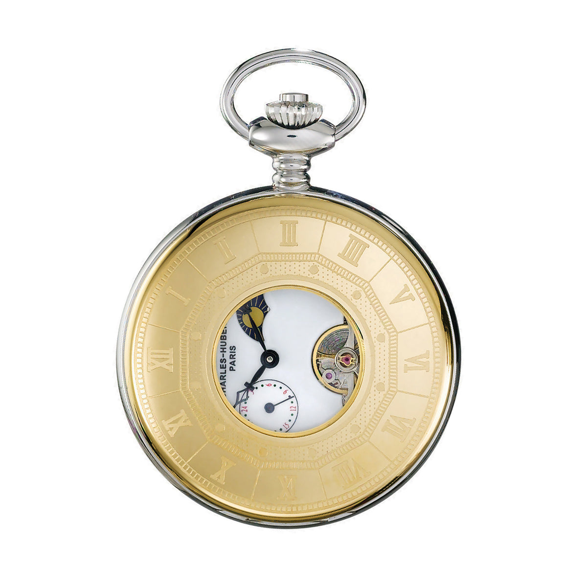Stainless Steel and Gold-plated Two-Tone Demi Hunter Case Mechanical Pocket Watch | Getty Store