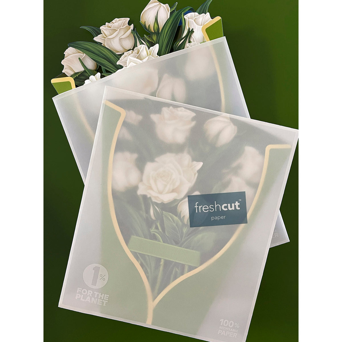 White Roses Pop-Up Notecard