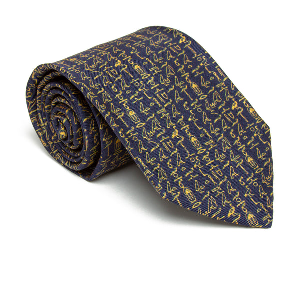 Egyptian Hieroglyphic Pattern Silk Tie