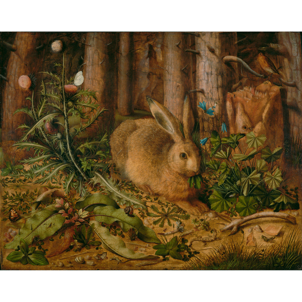 Plush Bunny Inspired by A Hare in the Forest by Hans Hoffmann- Painting which inspired plush bunny  | Getty Store