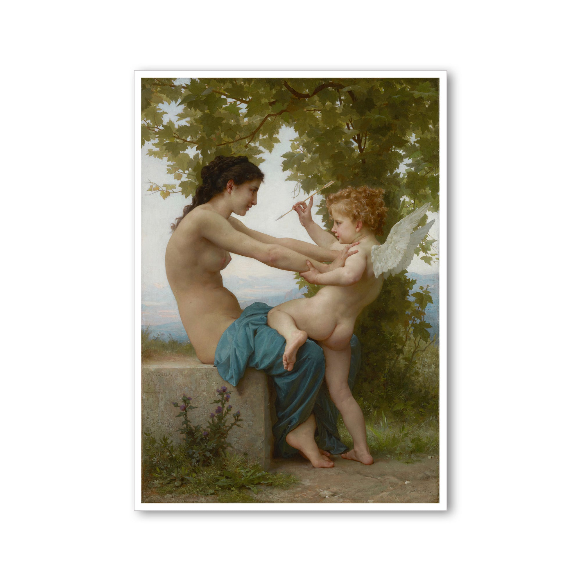 "Bouguereau - <i>A Young Woman Defending Herself Against Eros</i> - 5"" x 7"" Note Card"