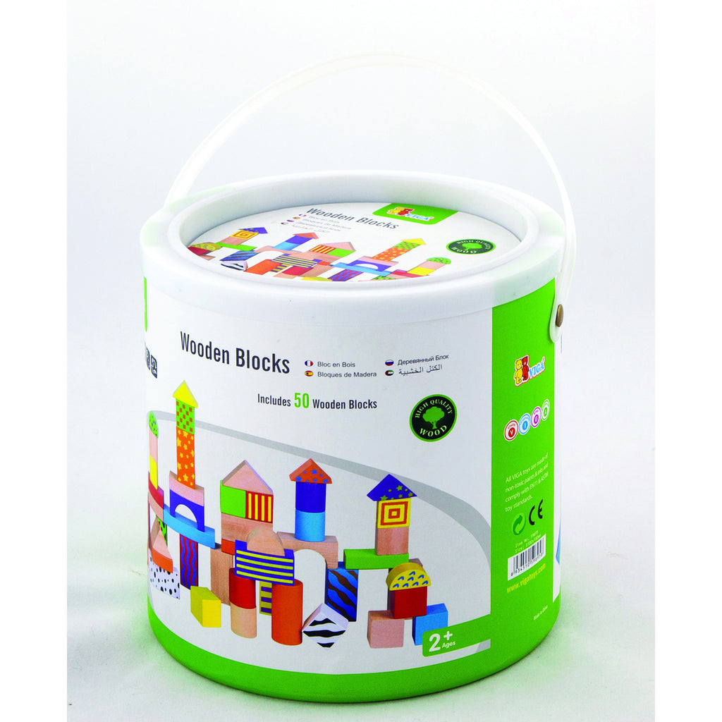 Colorful Patterned and Solid Wooden Building Blocks