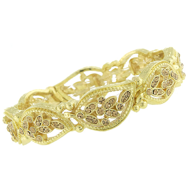 Gold-Tone Crystal Leaf Stretch Bracelet