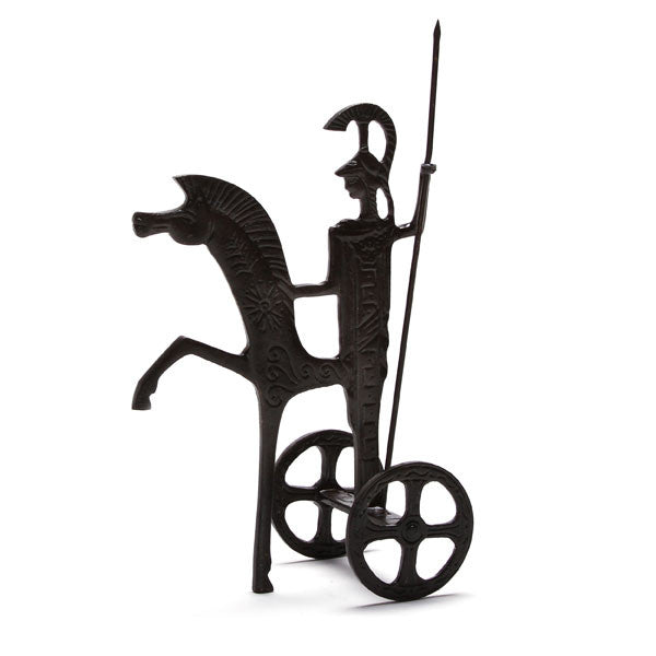 "Ancient Greek Warrior Chariot (10"" H) -  Cast Brass Reproduction"