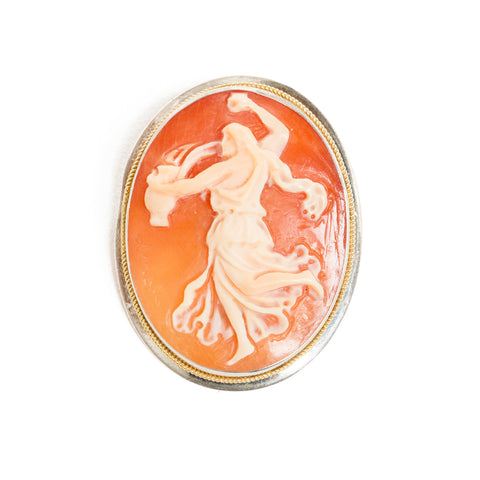 Hand Carved Cameo Brooch - Dancing Muse