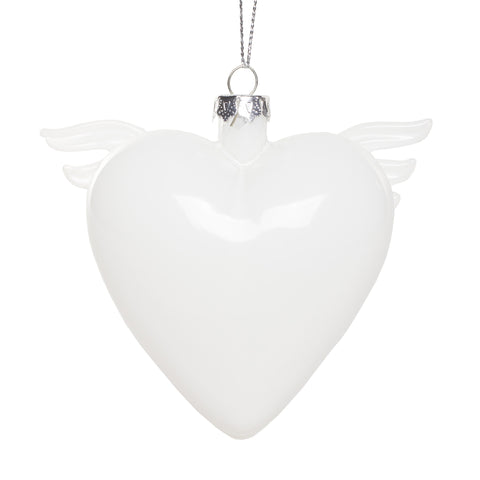 Glass Heart with Wings Ornament - White