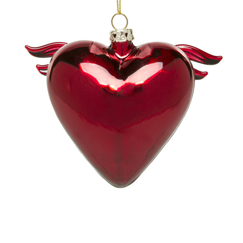 Glass Heart with Wings Ornament - Red