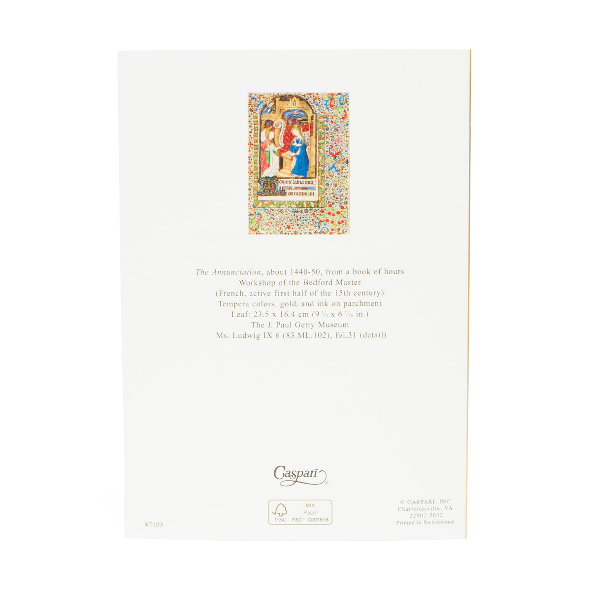 Getty Small Boxed Christmas Cards-Book of Hours- view of card in reverse | Getty Store