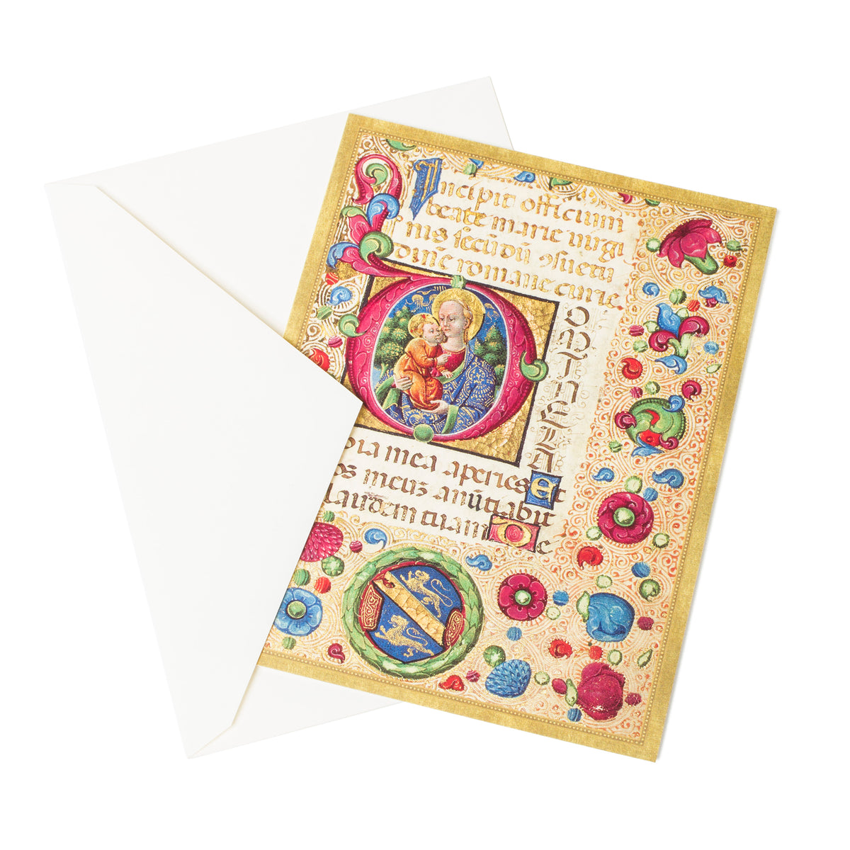 Getty Boxed Christmas Cards-Virgin and Child, view of card with white envelope | Getty Store
