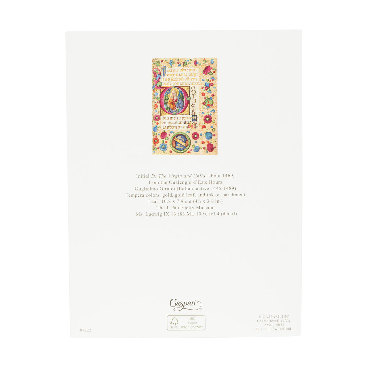 Getty Boxed Christmas Cards-Virgin and Child, view of back of card with information about inspiration artwork | Getty Store
