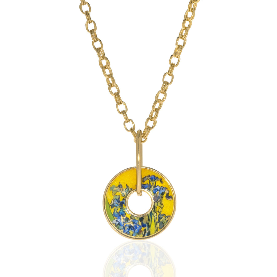 Van Gogh Irises Open Disc Necklace
