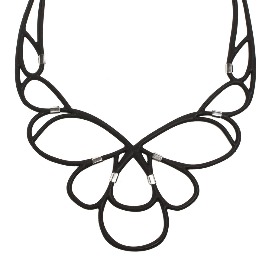 Black Rubber Loops Necklace