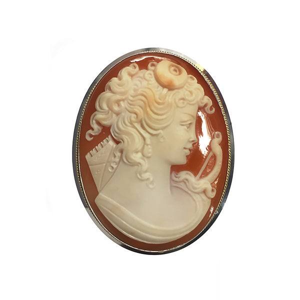 Hand Carved Cameo Brooch - Diana