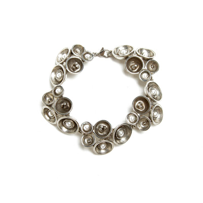 Pewter and Pearl Concave Circle Cluster Convertible Necklace/Bracelet