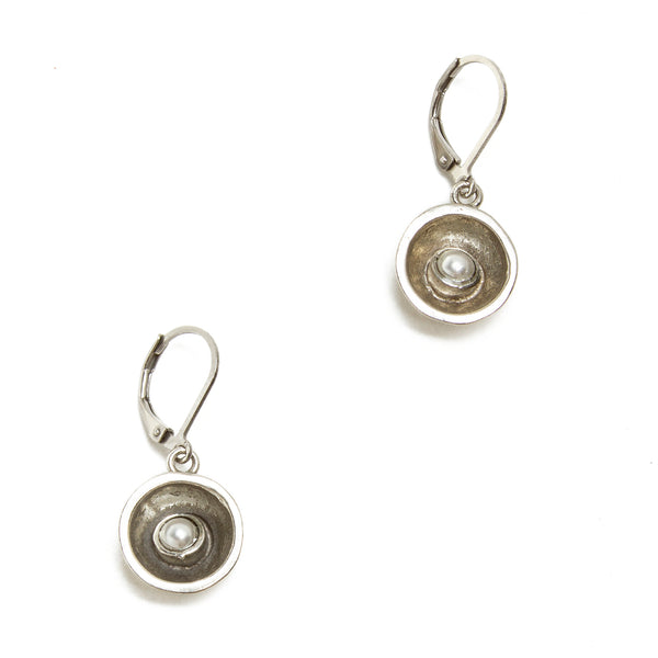 Pewter and Pearl Concave Circle Drop Earring
