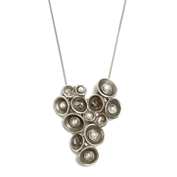 Pewter and Pearl Concave Circle Cluster Pendant