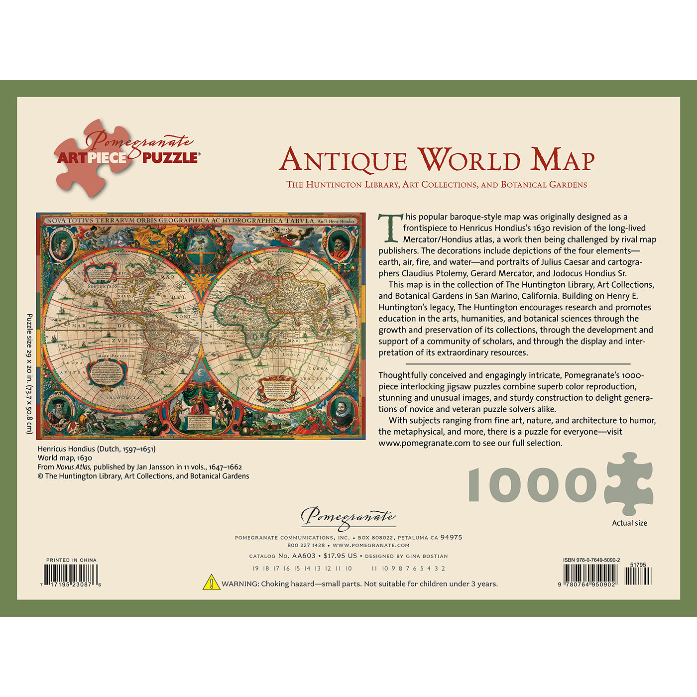 Antique World Map Puzzle- 1000 Pieces | Getty Store