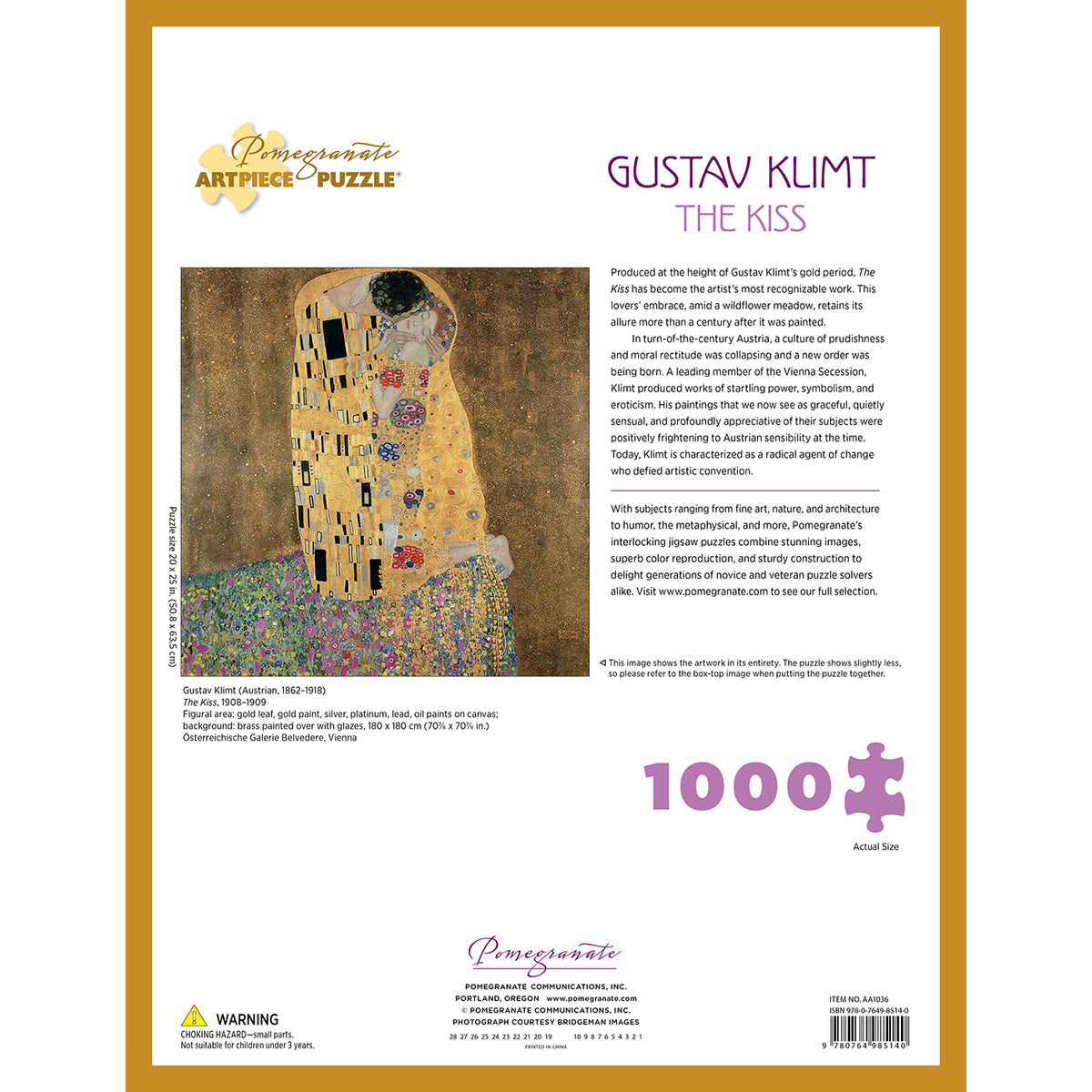 Gustav Klimt- The Kiss Puzzle- 1,000 Pieces | Getty Store