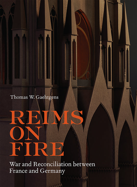 Rendering of details of Reims Cathedral in browns and blacks, with title of book laid over top.