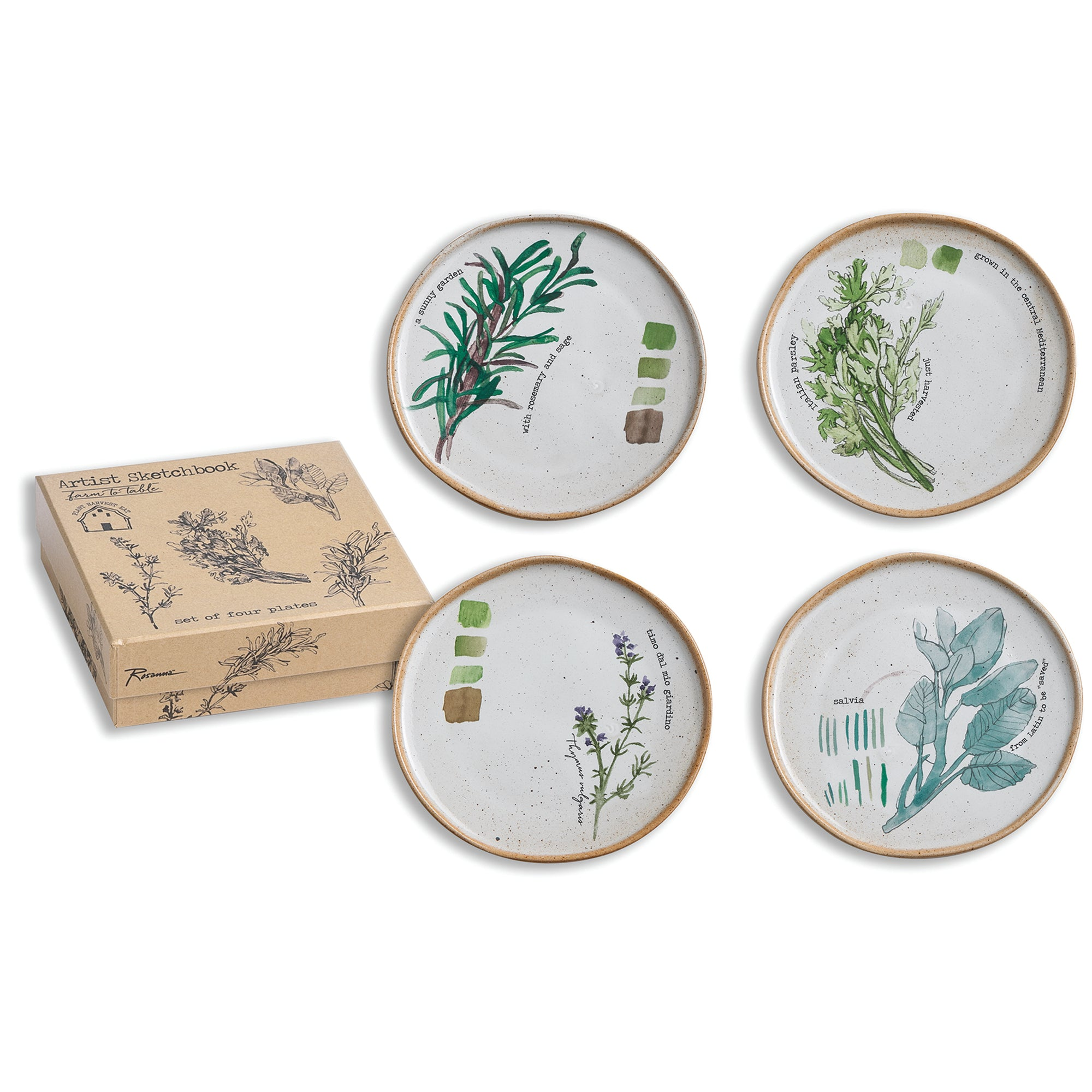 Porcelain Herb Plates - Set of Four
