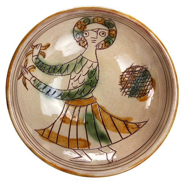 "Ceramic Bowl with Female Dancer (6"" Diameter)  - Reproduction"