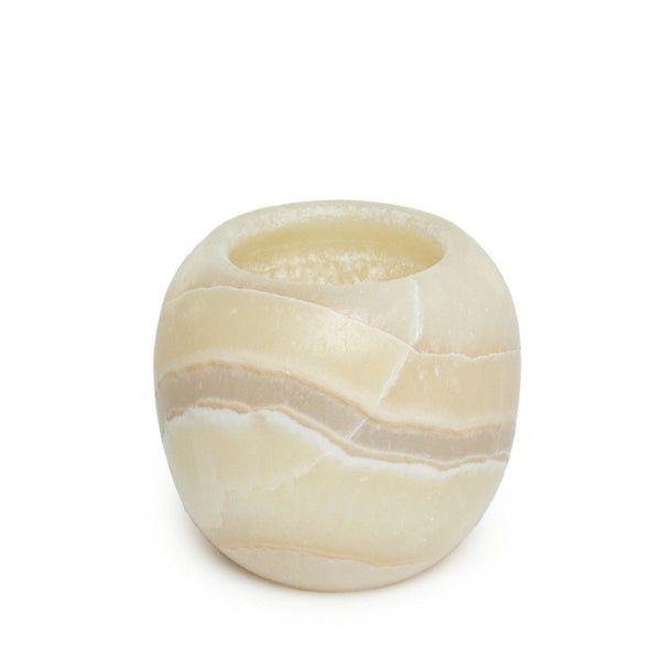 Carved Egyptian Alabaster Votive Holder