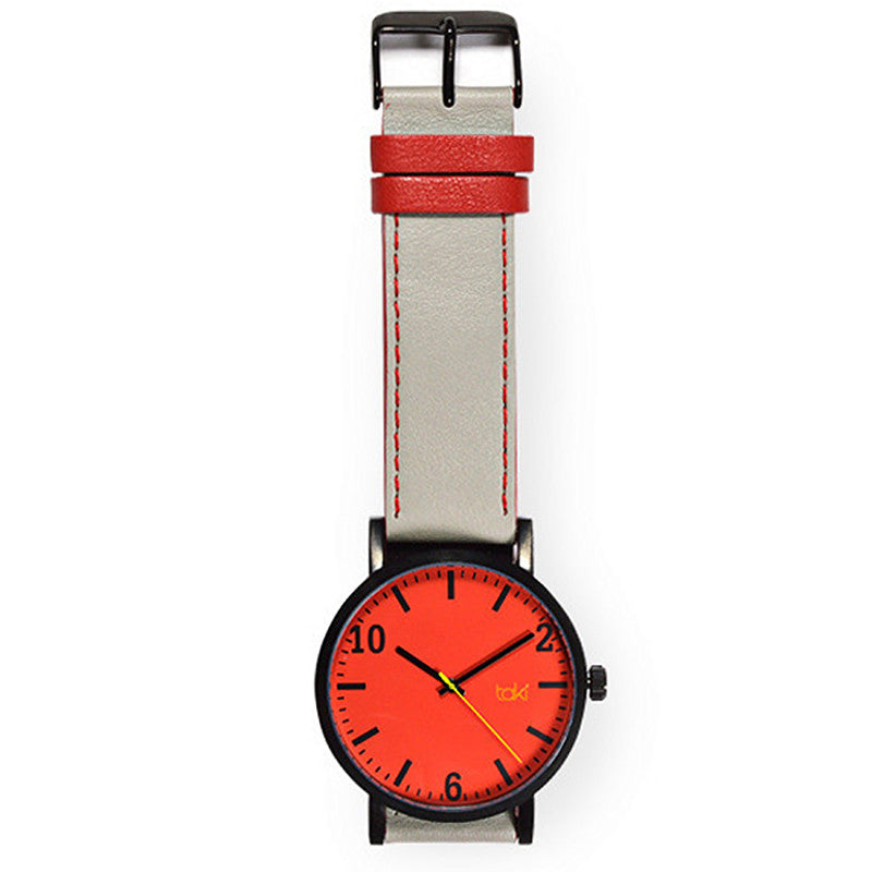 Grey/Red Leather Watch