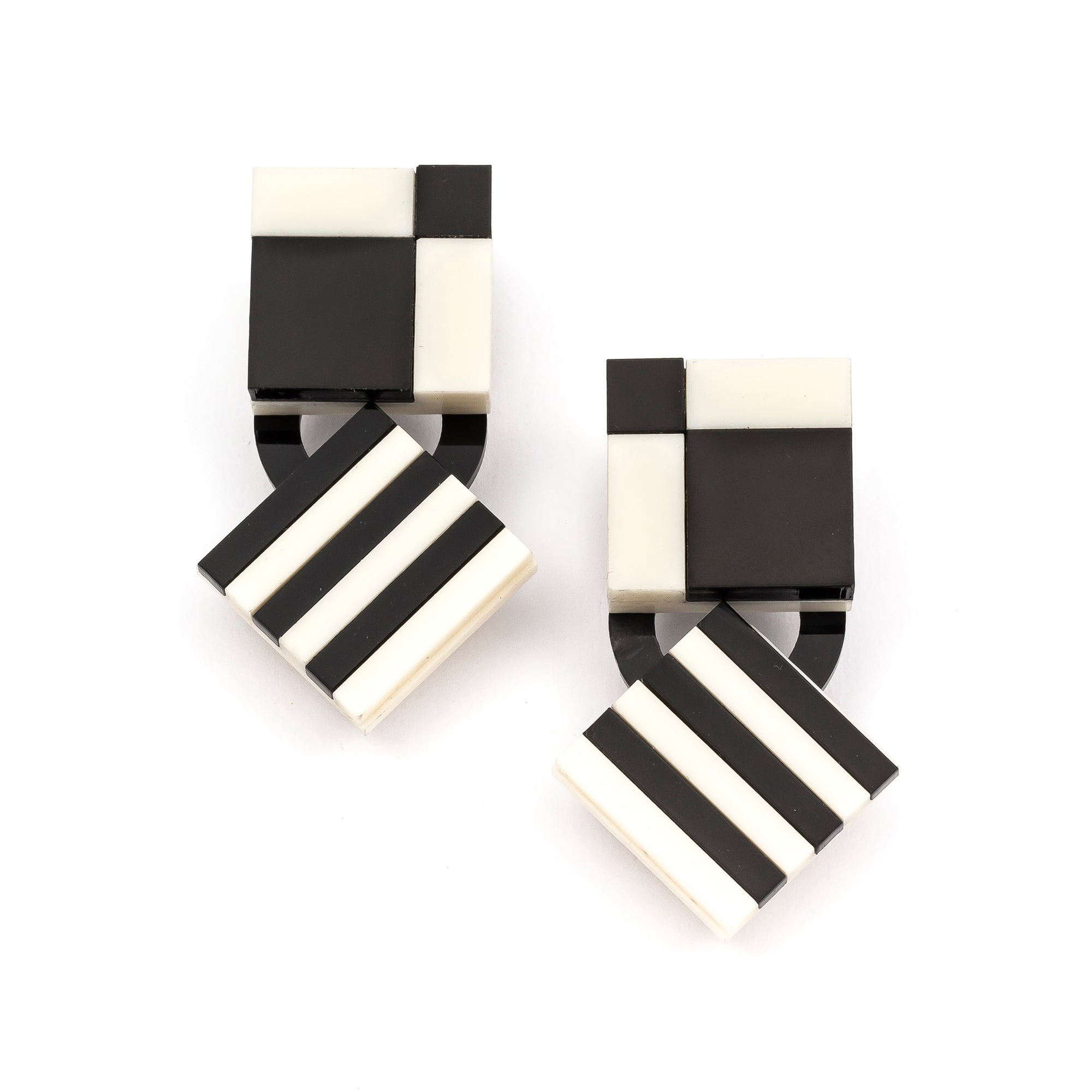 Checker Stripe Drop Earrings | Getty Store