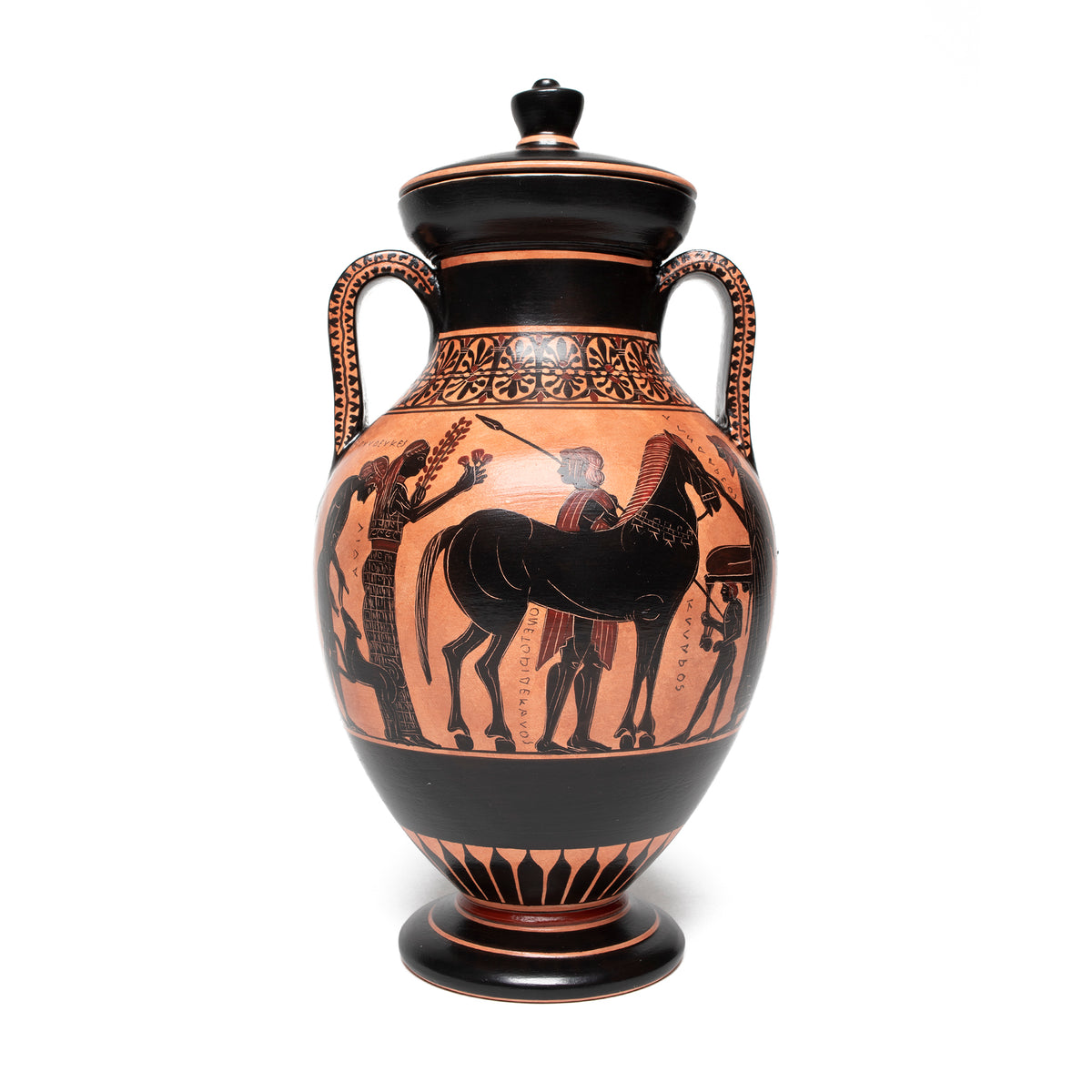 "Greek Vase- Belly Amphora with lid (8.5"" H) 