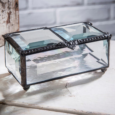 Glass Jewelry Box with Double-Hinged Lid