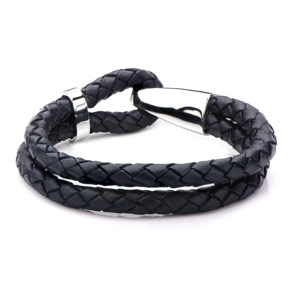 Braided Navy Blue Leather Bracelet