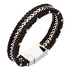 Braided Brown Leather and Steel Chain Bracelet | Getty Store