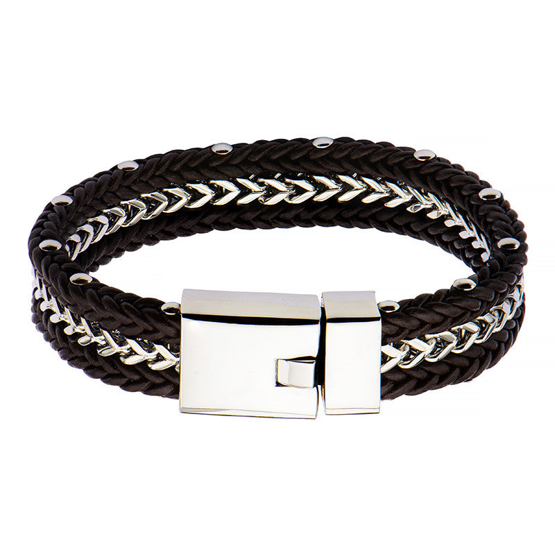 Braided Brown Leather and Steel Chain Bracelet