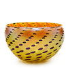 Vizzusi Art Glass Bowl - Gold with Red Dot Detail