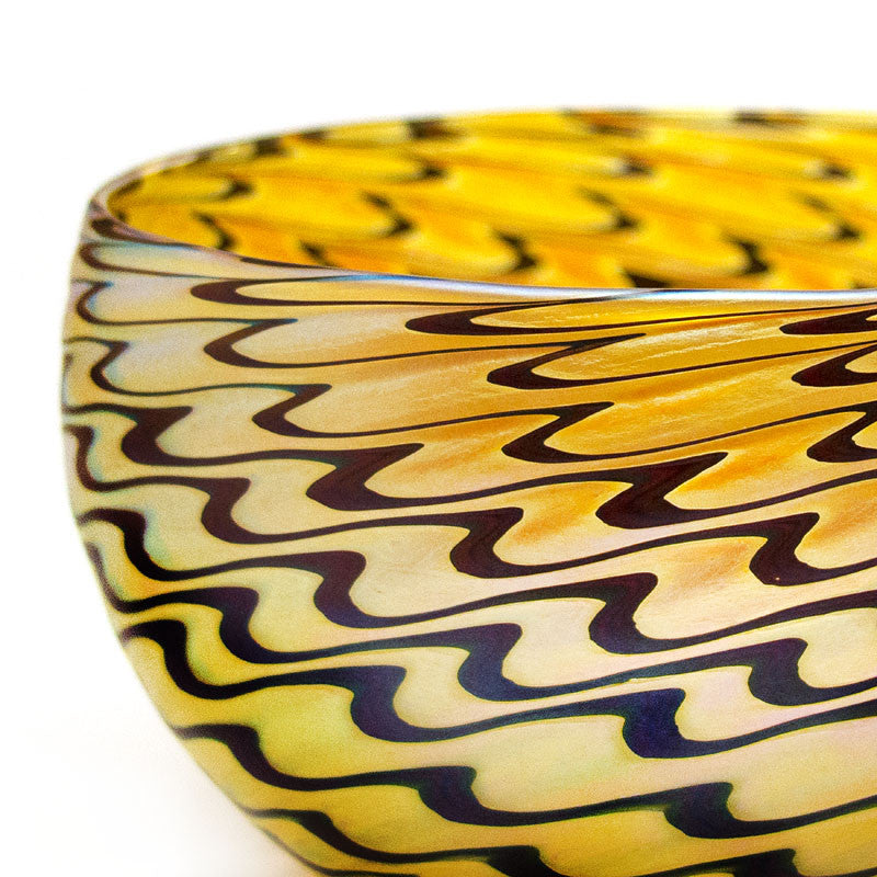 Vizzusi Art Glass Bowl Gold Feather The Getty Store
