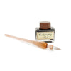 Italian Glass Calligraphy Pen with Bottle of Fine Calligraphy Ink - Amber