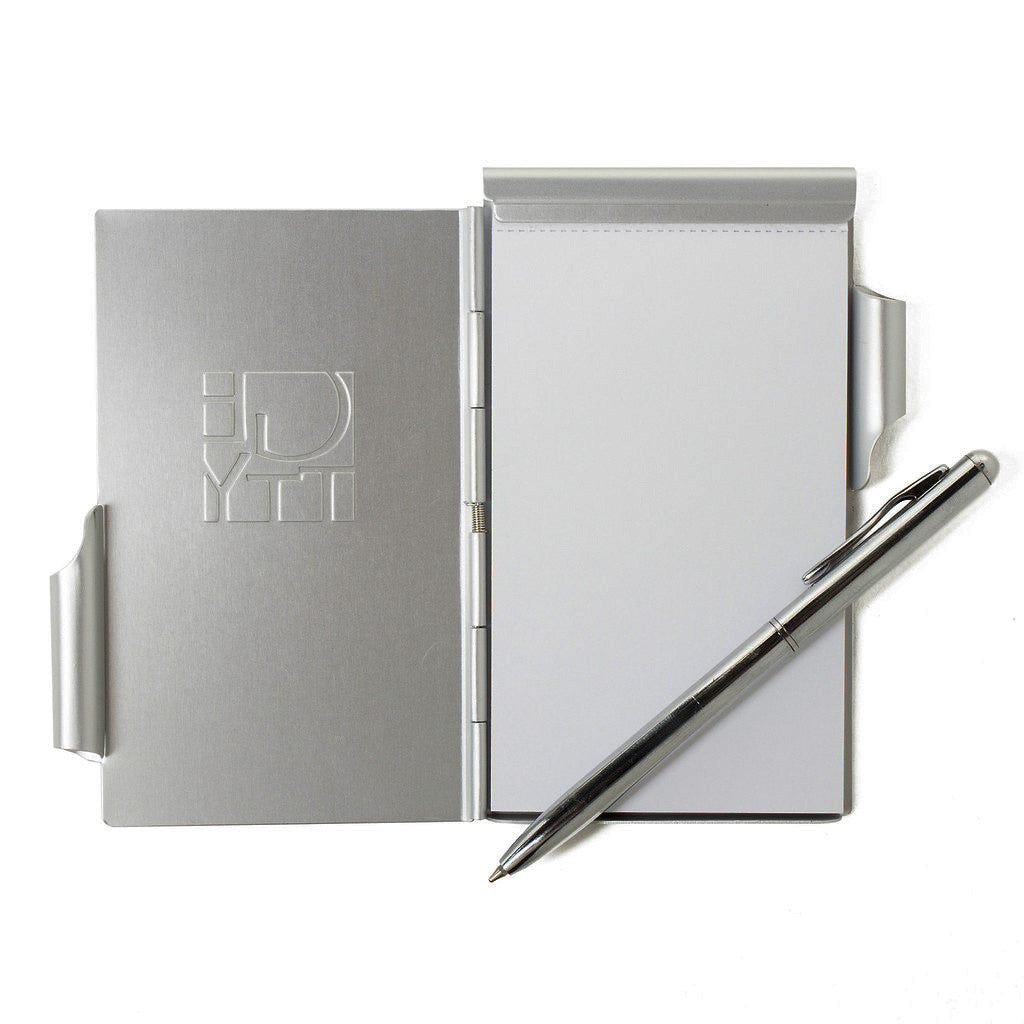 Debossed Getty Wordmark Flip Note, Silver, Open view showing paper and pen | Getty Store