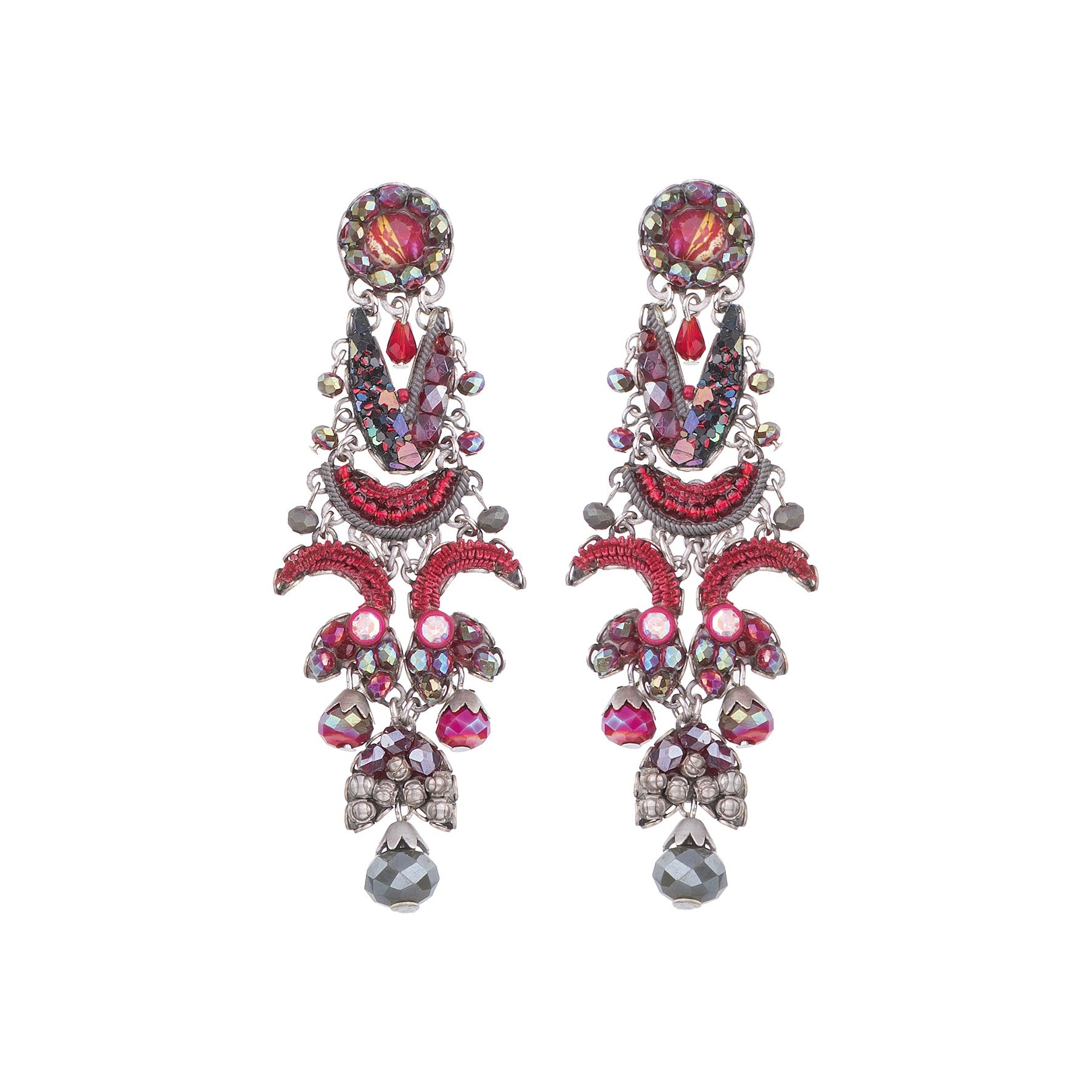 Large Crimson Flame Earrings - Ayala Bar